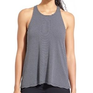 Athleta Striped Grey Black Racerback Tank Top